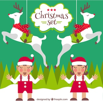 Personagens engraçados do natal set