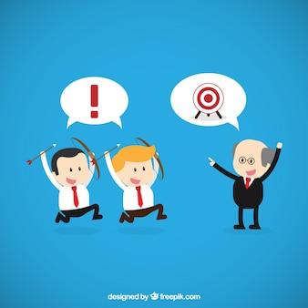 Personagens engraçados empresário