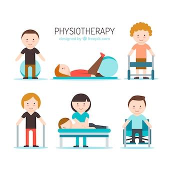 Pessoas agradáveis com fisioterapeuta