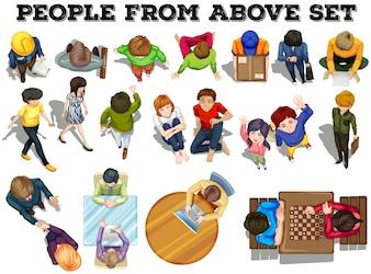 Pessoas da ilustração da vista superior