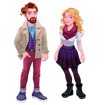 Pessoas da moda jovens personagens desenhos animados do vetor isolados