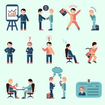 Pessoas de negócios homem de negócios personagens de desenhos animados conjunto de ícones ilustração vetorial isolado