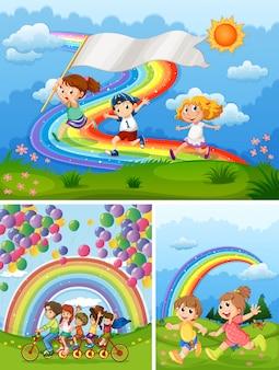 Pessoas felizes no parque com arco-íris em segundo plano