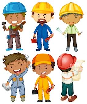 Pessoas que fazem diferentes tipos de trabalhos