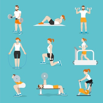 Pessoas que treinam bicicletas de exercícios e esteiras de ginástica cardio com banco de imprensa ícones coleção plana ilustração vetorial isolado