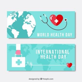 Phonendoscope e banners Dia da Saúde kit de primeiros socorros