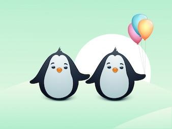 Pinguins bonitos com balões coloridos.