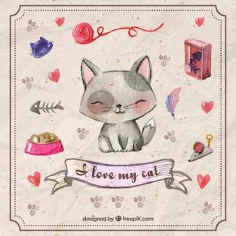 Pintados à mão acessórios para animais e gatinho bonito