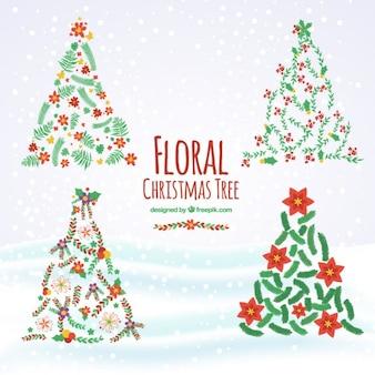 Pintados à mão árvores de natal floral embalar