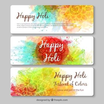 pintados à mão banners feliz Holi