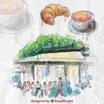 Pintados à mão café francês