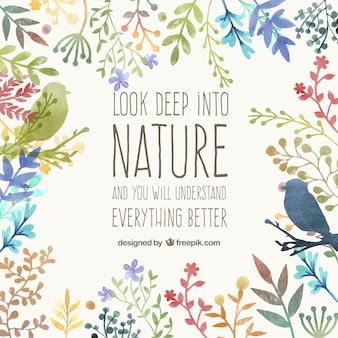 Pintados à mão cartão da natureza