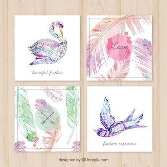 Pintados à mão cartões de penas