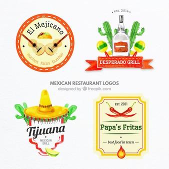 Pintados à mão coloridos logos comida mexicana