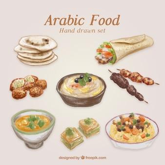 Pintados à mão comida tradicional árabe