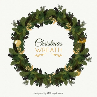 Pintados à mão coroa de flores Natal com detalhes dourados