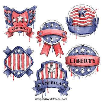 Pintados à mão emblemas americano