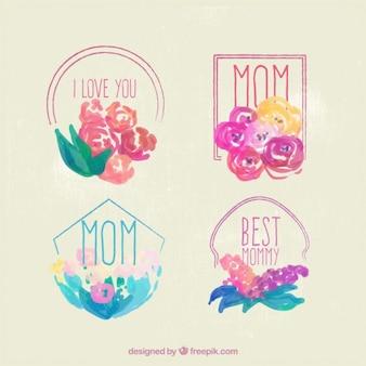 Pintados à mão emblemas florais do dia das mães