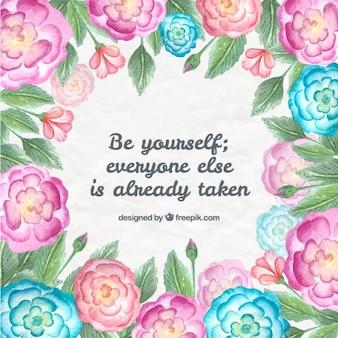 pintados à mão flores cor de rosa e azuis com a frase positiva