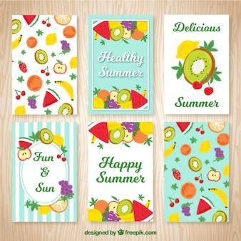 pintados à mão frutos cartões de verão