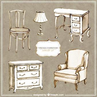 Pintados à mão mobiliário vintage