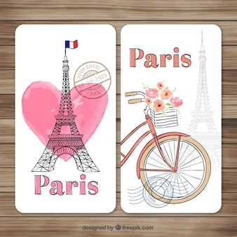 Pintados à mão Paris cartões