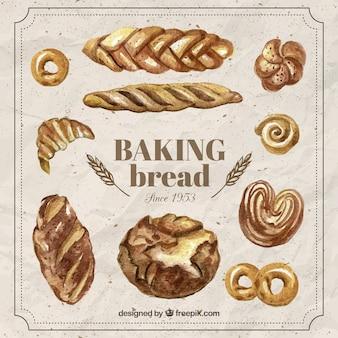 Pintados à mão realista assar pão
