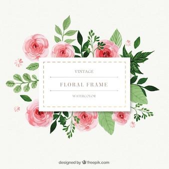 Pintados à mão rosas com frame das folhas