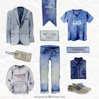 Pintados à mão roupas masculinas azul