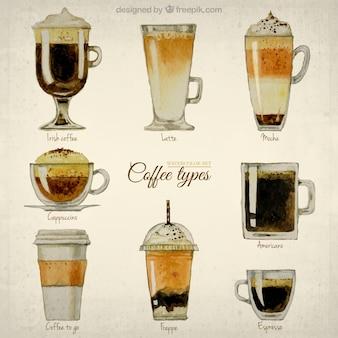 Pintados à mão tipos de café