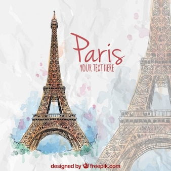 pintados à mão Torre Eiffel