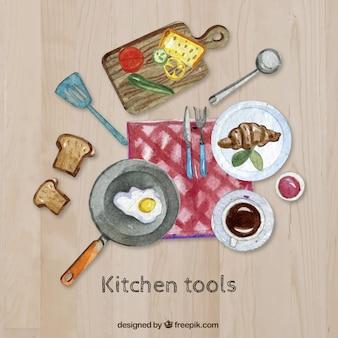 Pintados à mão utensílios de cozinha e alimentos