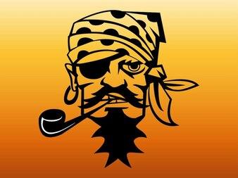 Pirata fumando um cachimbo com tapa-olho