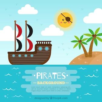 Pirata, navio, velejando, liso, desenho, fundo