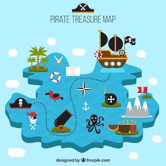 Pirata, tesouro, mapa, decorativo, elementos
