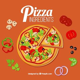 Pizza com muitos ingredientes em torno