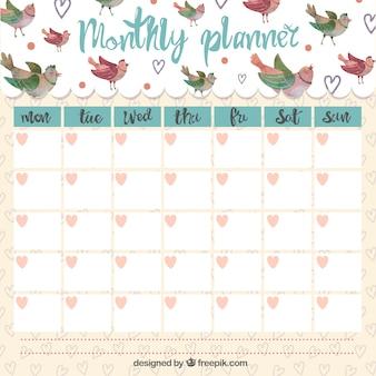 planejador mensal bonito com pássaros cantando