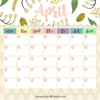 Planejador mensal de abril, com folhas