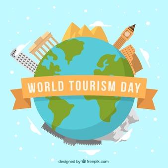 Planeta terra com monumentos, dia mundial do turismo