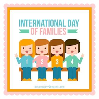 Plano, fundo, quatro, sorrindo, meninas, família, Dia