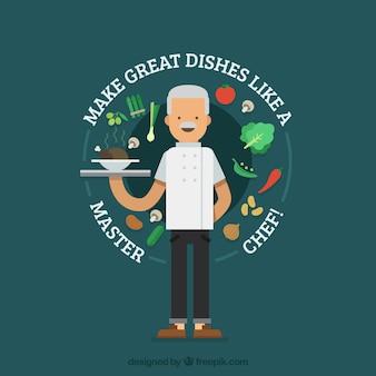 Plano, fundo, sorrindo, cozinheiro, saudável, alimento