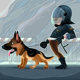 Policial com cão dos desenhos animados do vetor