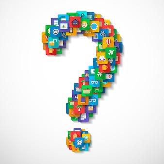 Ponto de interrogação feito de aplicação móvel, ícones de viagem, conceito, ilustração vetorial
