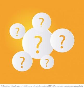 Pontos de interrogação arredondados em amarelo