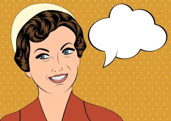 Pop art fofo retro mulher em estilo quadrinhos com mensagem bolha