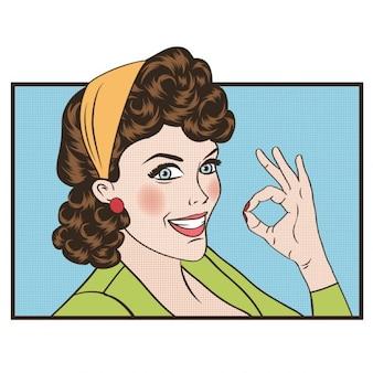 Pop art Mulher retro bonito no estilo comics com sinal OK