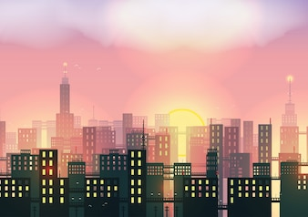Pôr do sol, cidade, fundo