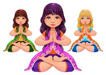 Posição da ioga Lotus Vartoon vetor cartooncharacters isoladas em diferentes cores de cabelo e vestido