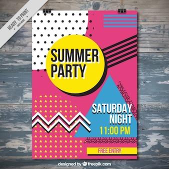 Poster abstrato colorido do partido do verão