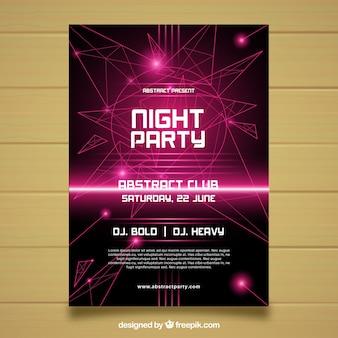 Poster abstrato do partido com luzes de néon